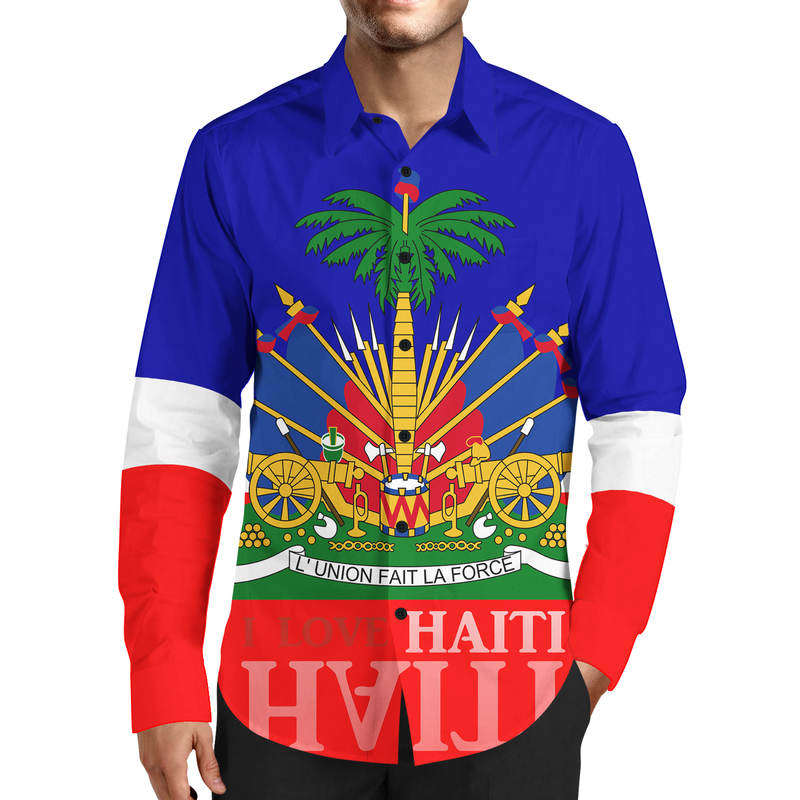 TMMG FASHION LUXURY HAITIAN FLAG DRESS SHIRT