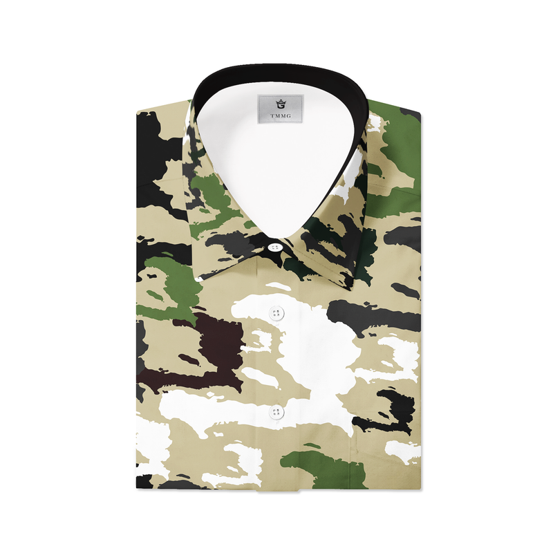 TMMG GREEN HAITI CAMO MEN'S DRESS SHIRT
