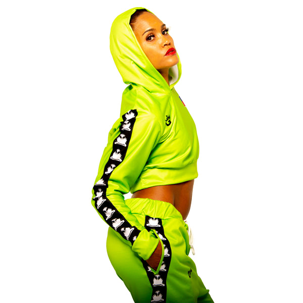 TMMG HAITI LEGACY LIME GREEN CROP TOP HOODIE SET