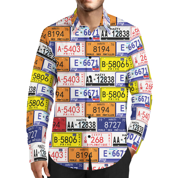 MEN'S FASHION TMMG HAITI LICENSE PLATES DRESS SHIRT