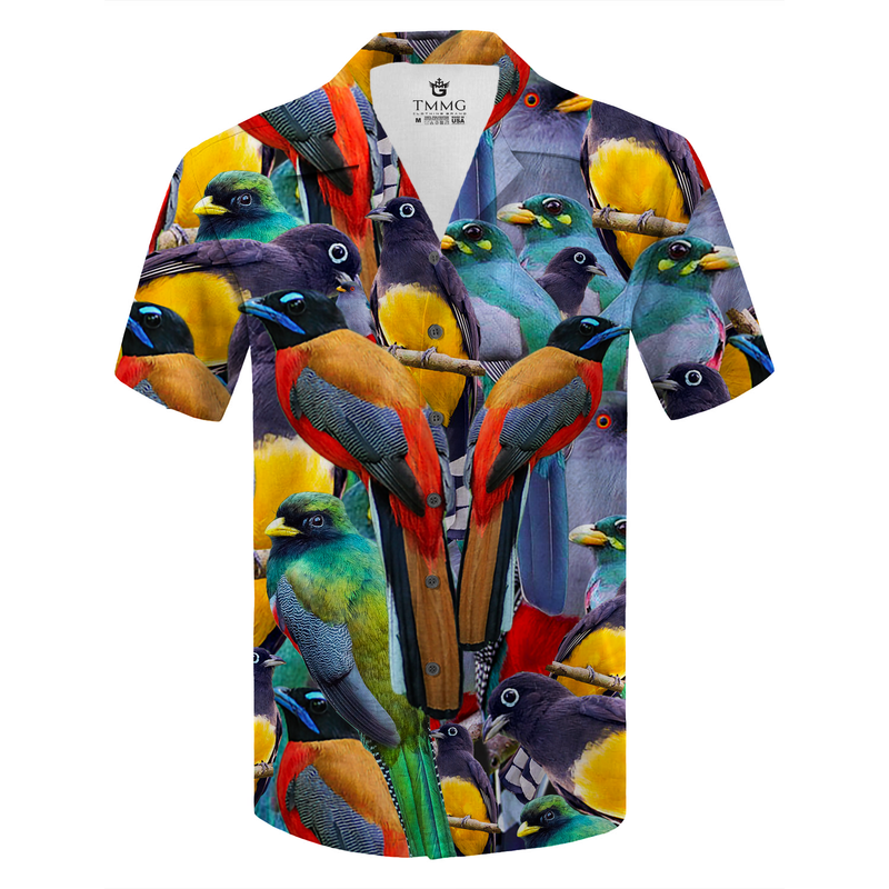 TMMG HAITI NATIONAL TROGON BIRDS DRESS SHIRT