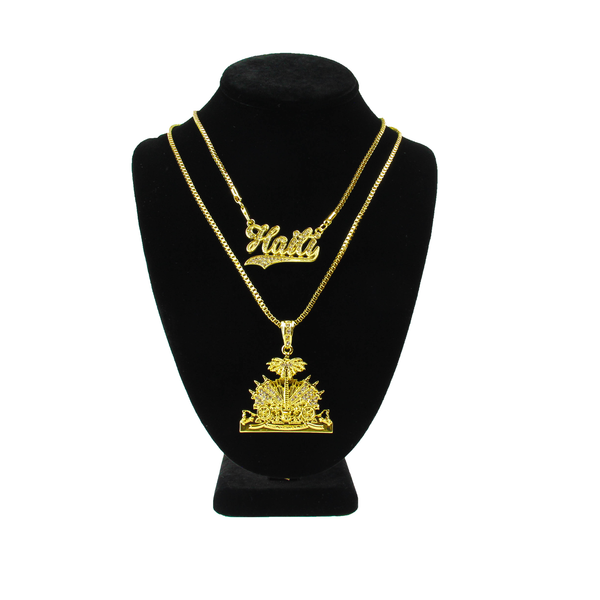 16k GOLD TMMG HAITI PENDANT CHAIN SET