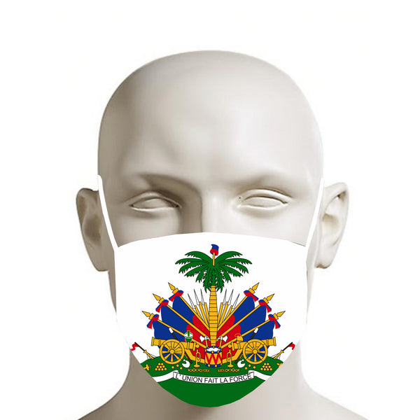 WHITE TMMG HAITIAN FLAG FACE MASK