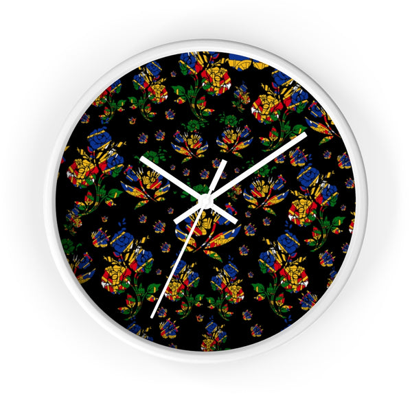 TMMG Haitian Flag Choublak Flower Wall clock