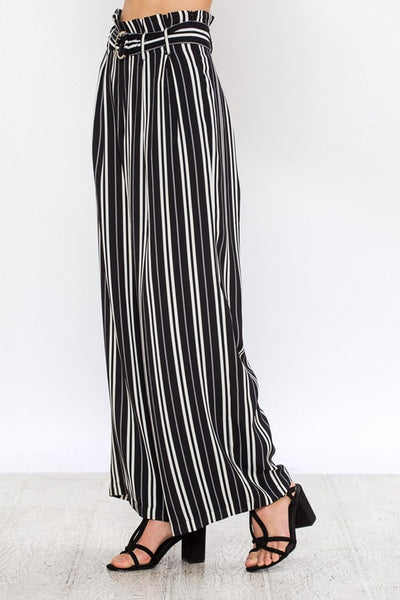 striped waist tie paper bag pants