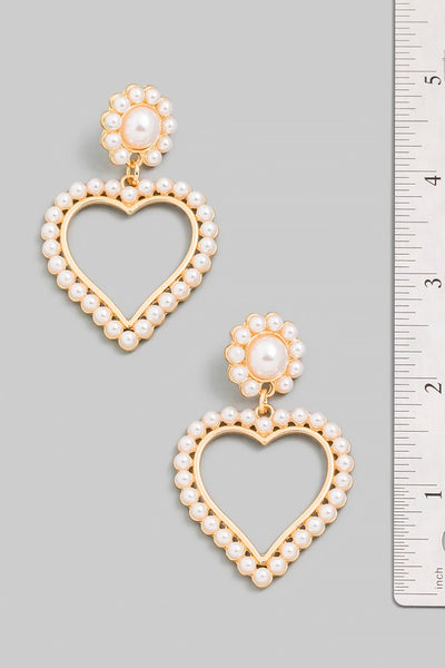 heart pearl accent drop earring