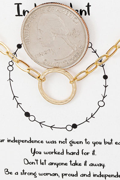 dainty circle paperclip chain necklace