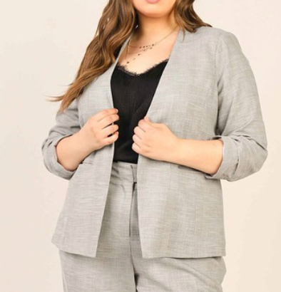 3/4 sleeve pleated blazer