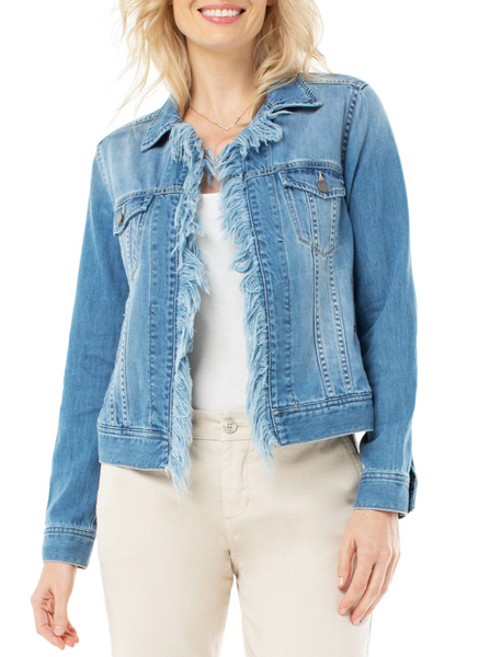 frayed placket trucker jacket