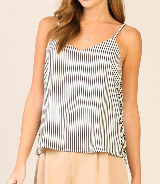 leopard contrast striped top