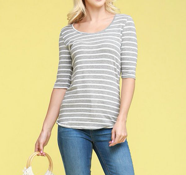 basic striped scoop neck tee