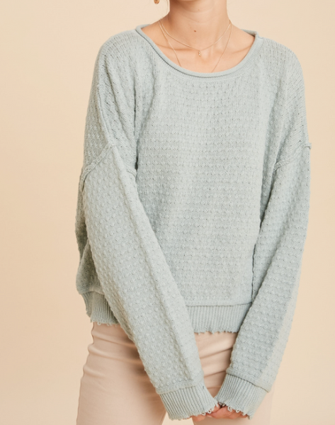 textured raw hem sweater