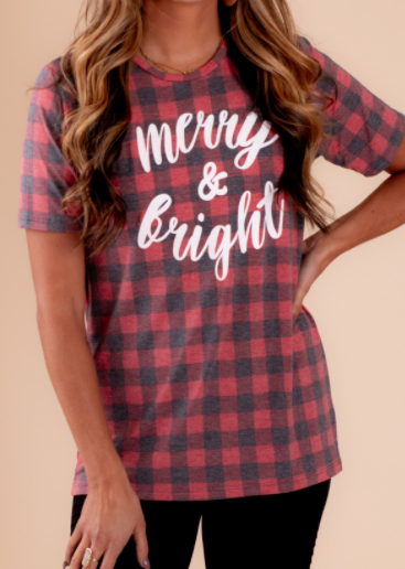 Merry & Bright buffalo print tee