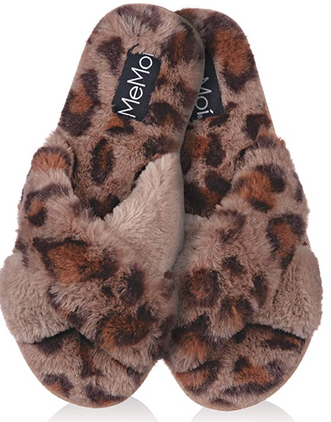 cheetah plush slipper