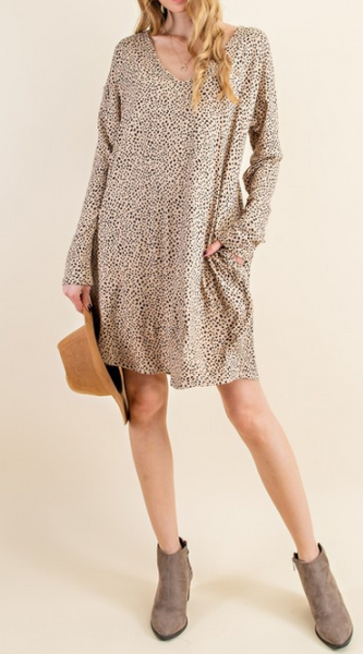 cheetah print v neck dress with pockets