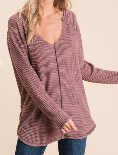 waffle top with v neck