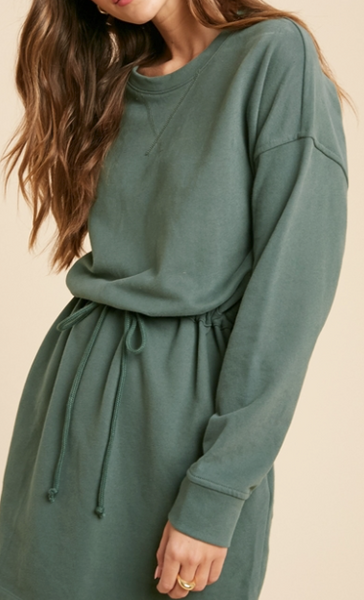 drawstring waist sweatshirt dress