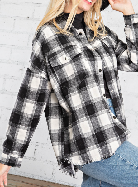 buffalo plaid button down frayed top