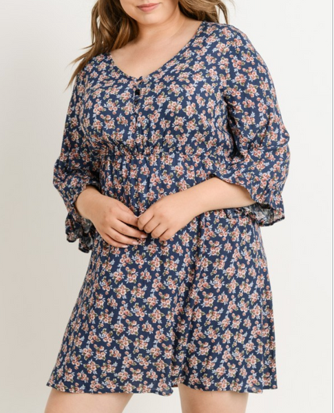 bell sleeve button dress