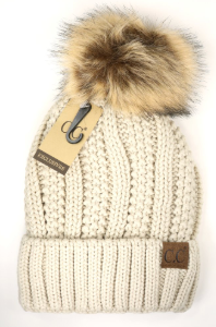 CC fur pom pom knit beanie - fleece lined