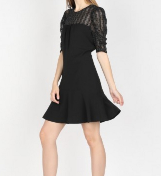 dot glitter ruffle hem dress