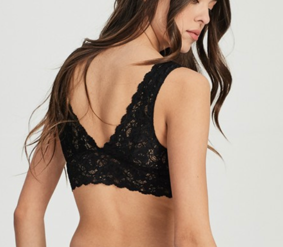 scalloped lace v neck padded bralette