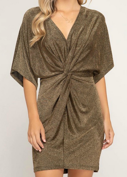 metallic front twist dress