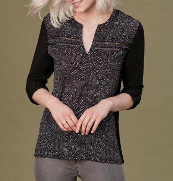 speckle 3/4 sleeve top