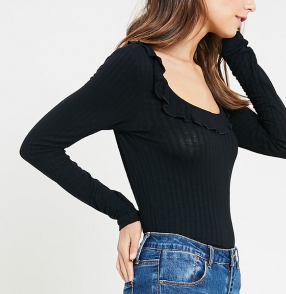 ruffle neck ribbed top