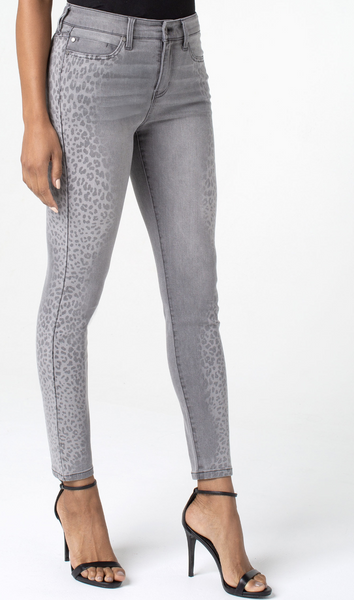 Abby Side Cheetah Print Ankle Skinny Jeans