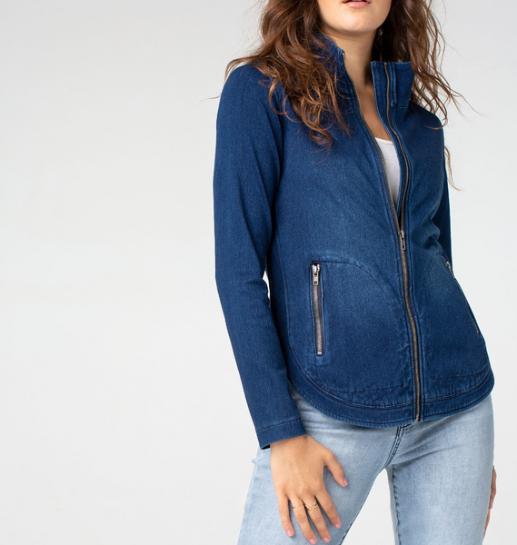 Curve Hem Zip Denim Jacket
