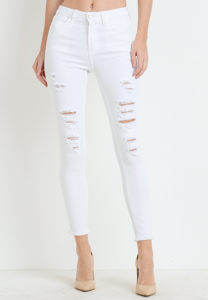 distressed skinny with fray