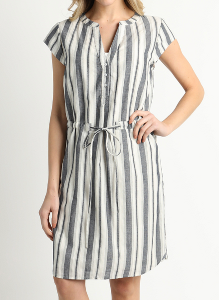 striped waist tie dress