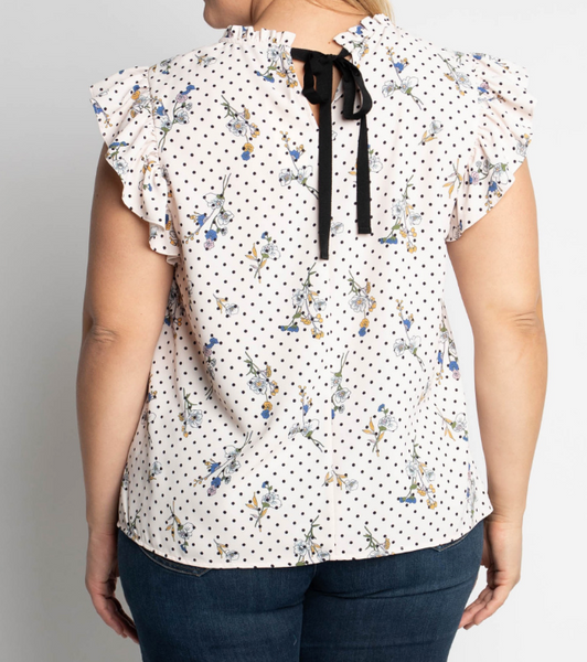 polka dot floral top