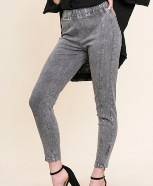 mineral washed pull on leggings
