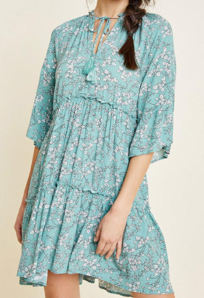 Floral tie front peasant dress