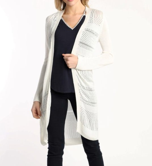 lightweight pointelle cardigan