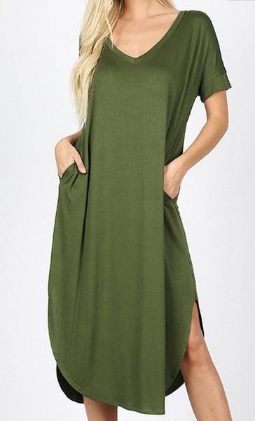 v neck maxi with pockets