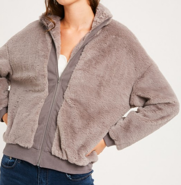 faux rabbit fur zipper jacker