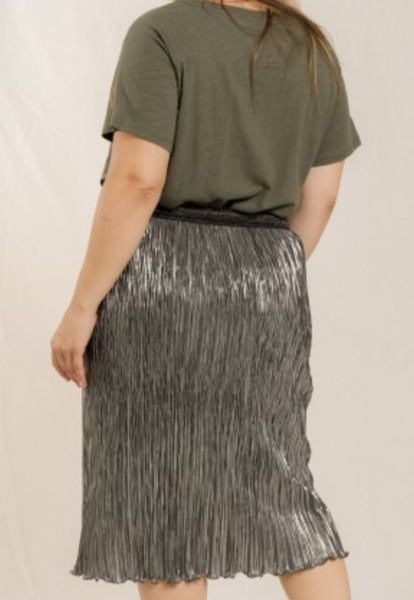 foil print pleated skirt
