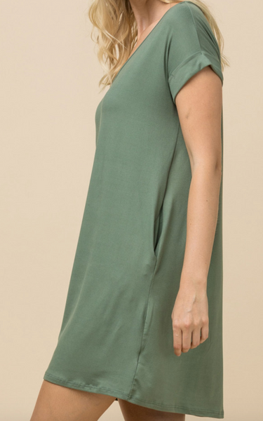 v neck soft tee dress