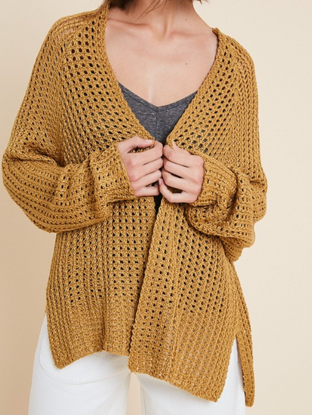 goldy open knit sweater cardigan