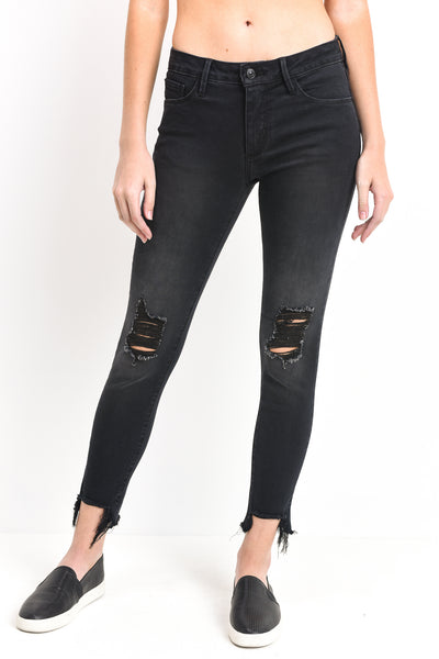 crop destroyed hem skinny jean