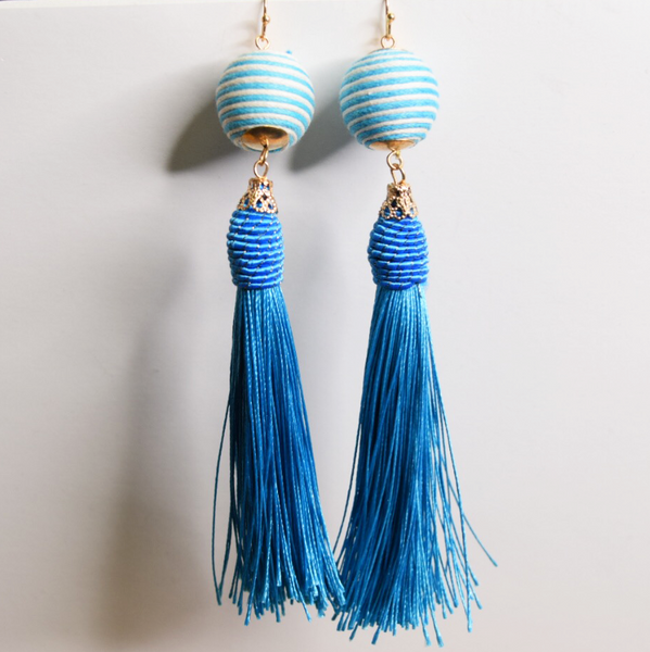 ball drop with tassel earring