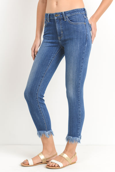 crop skinny fringe hem (high rise)