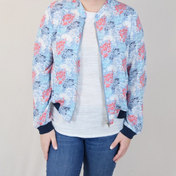 Printed floral bomber