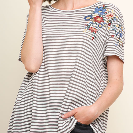 floral detail striped top