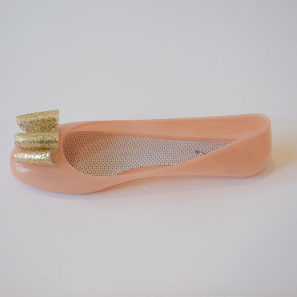 jelly ballerina flats with bow