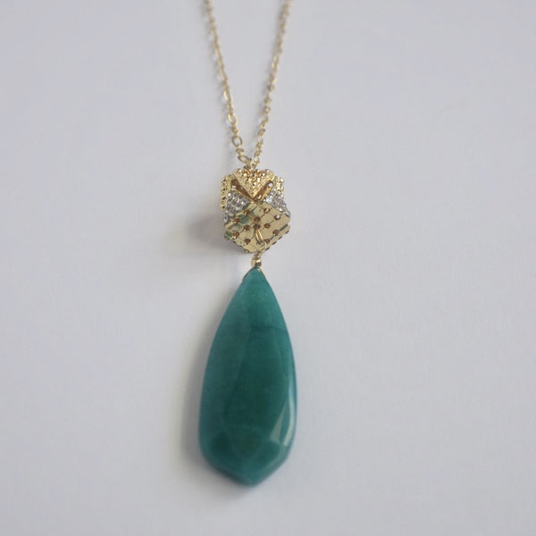 teardrop pendant raw emerald