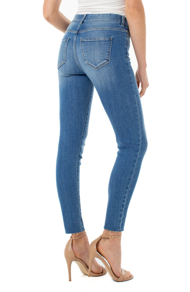 gia glider skinny pull on crop with cut hem jean